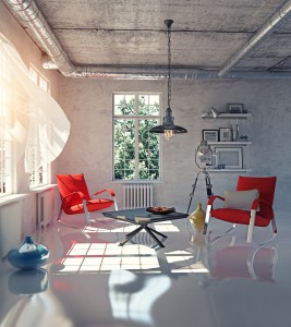 modern loft interior concept design (3d render)